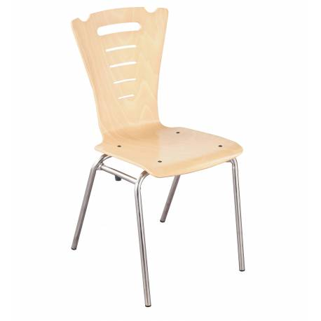 Chaise coque bois 4 pieds Ø 20 CORALY