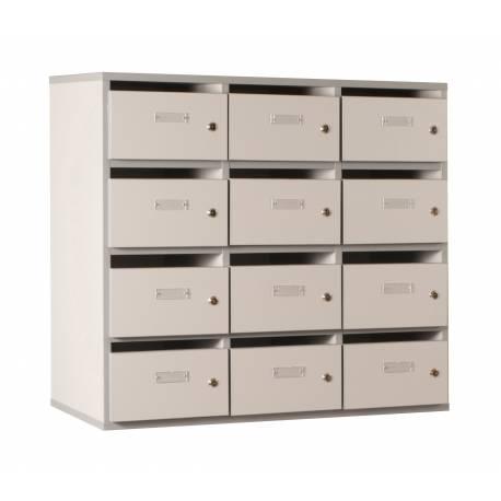 Meuble à courrier 12 cases BIP BOP gris