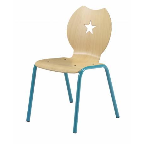 Chaise coques bois maternelle étoile NEMO