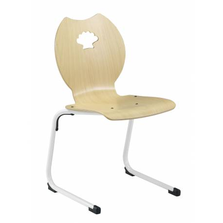 Chaise coque bois AST acier Ø 25 coquillage NEMO