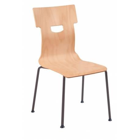 Chaise coque bois 4 pieds Ø 18 CARO
