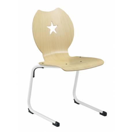 Chaise coque bois AST acier Ø 25 étoile NEMO