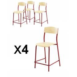 Lot x 4 Chaises 4 pieds ANTIB réhaussées H60