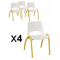 Lot x 4 chaises coques polypropylène ETOILE